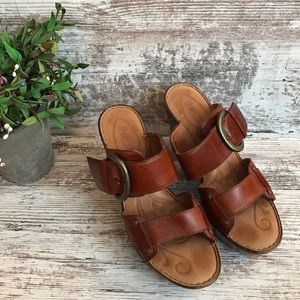 Born Leather Buckle Strap Block Sandal Heels Mules